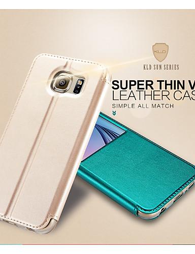 Kalaideng Hülle Für Samsung Galaxy Samsung Galaxy Hülle mit Halterung / mit Sichtfenster / Flipbare Hülle Ganzkörper-Gehäuse Solide PU-Leder für S6