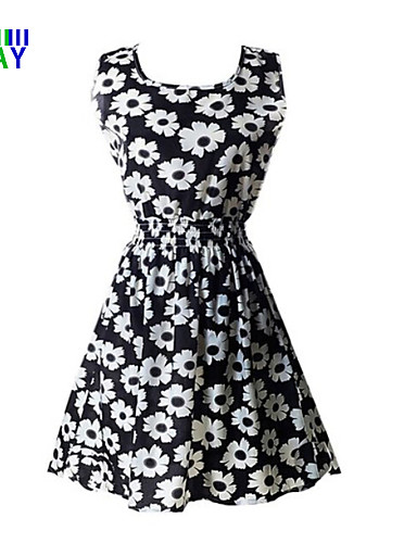 Women's Daily Cute Skater Dress,Print Round Neck Above Knee Sleeveless Polyester Summer Mid Rise Inelastic Thin