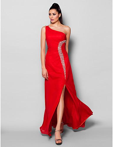 Ίσια Γραμμή Ένας Ώμος Μακρύ Σιφόν Επίσημο Βραδινό Φόρεμα με Χάντρες  Κρυστάλλινη λεπτομέρεια Με Άνοιγμα Μπροστά ce607a1cb56