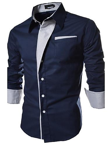 hesapli Erkek Gömlekleri-Erkek Forma Yaka İnce - Gömlek Temel, Solid Büyük Bedenler Beyaz / Uzun Kollu / Bahar / Sonbahar