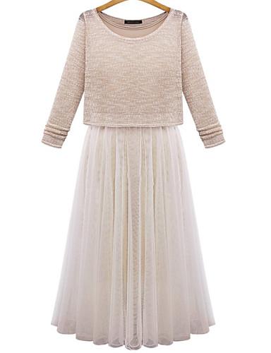 Γυναικεία Φόρεμα Επίπεδα/Πλισέ/Δίχτυ Στρογγυλή Λαιμόκοψη Μίντι Μακρυμάνικο Δίχτυ/Βαμβάκι