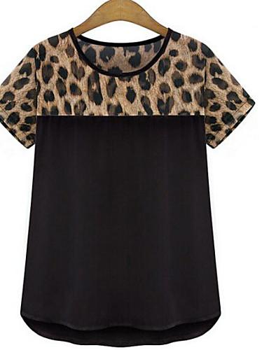 Γυναικεία T-shirt Καθημερινά / Μεγάλα Μεγέθη Απλό Άνιμαλ Πριντ,Κοντομάνικο Στρογγυλή Λαιμόκοψη Καλοκαίρι Λεπτό Πολυεστέρας Άσπρο / Μαύρο