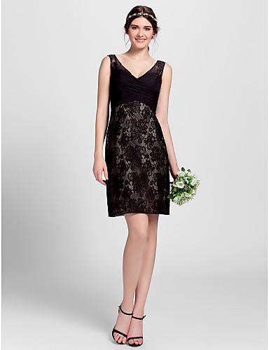 Γραμμή Α Λαιμόκοψη V Μέχρι το γόνατο Δαντέλα Φόρεμα Παρανύμφων με Δαντέλα με LAN TING BRIDE®