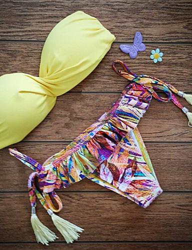 Damskie Push-up Biustonosz z fiszbinami Bikini Frędze Jendolity kolor Boho Nylon Nadruk