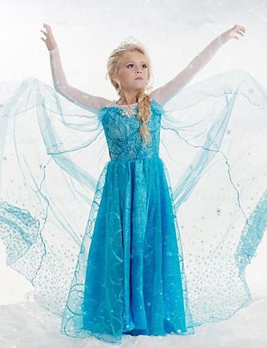 Κορίτσια Φόρεμα Μείγμα Βαμβακιού / Δίχτυ Ζακάρ Καλοκαίρι / Άνοιξη / Φθινόπωρο Μπλε