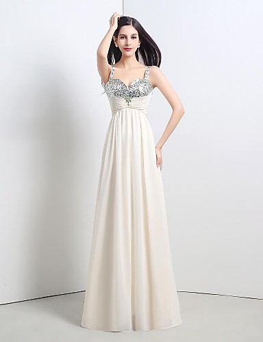 a-line 스트랩 바닥 길이 쉬폰 레이스 주름을 입힌 공식적인 이브닝 드레스