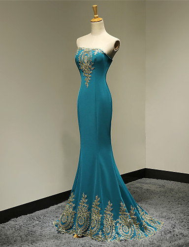 Mermaid / Trumpet Strapless Floor Length Satin Formal Evening Military Ball Dress with Appliques