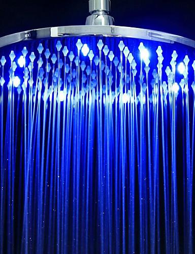 abordables Pommeaux de Douche LED-Moderne Douche pluie Chrome Fonctionnalité - Effet pluie Economique LED, Pomme de douche