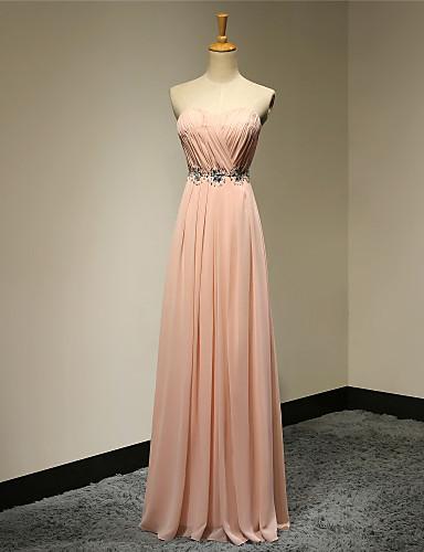 Платье без бретелек длиной до пола шифон выпускного вечера с бисером