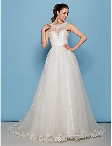 Lanting Bride® A-라인 / 공주 퍼티트 웨딩 드레스 코트 트레인 스쿱 레이스 / 튤 와
