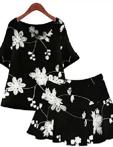 Γυναικείο Καθημερινά Μεγάλα Μεγέθη Σέξι Χαριτωμένο Ντε Πιες Skater Φόρεμα,Στάμπα ½ Μανίκι Στρογγυλή Λαιμόκοψη Πάνω από το Γόνατο