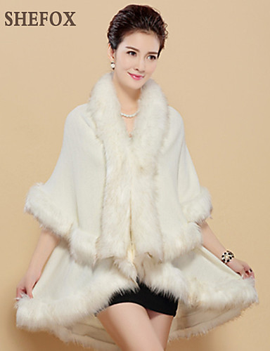 Women's Daily Sophisticated Fall Coat,Solid V Neck ½ Length Sleeve Regular Faux Fur Polyester Fox Fur