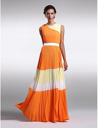 Sheath / Column Jewel Neck Floor Length Chiffon Bridesmaid Dress with Draping by LAN TING BRIDE®