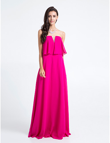 시스 / 칼럼 끈없는 스타일 바닥 길이 쉬폰 신부 들러리 드레스 와 주름 으로 LAN TING BRIDE®