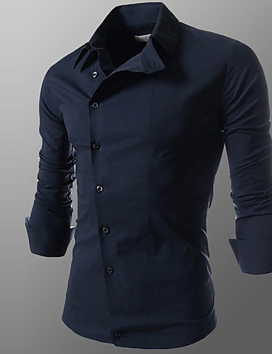 Men's Plus Size Cotton Slim Shirt - Solid Colored Classic Collar / Long Sleeve