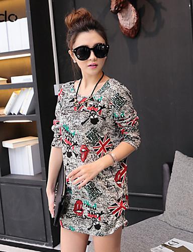 Kadın's Şık & Modern Salaş Elbise Desen Diz üstü