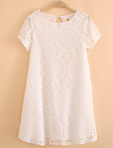 Women's Daily Vintage Cute Sexy Loose Lace Above Knee Dress, Solid Round Neck Sleeveless