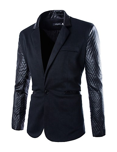 Men's Solid Casual / Work Blazer,Polyester Long Sleeve Black