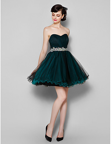 A-Line Sweetheart Neckline Knee Length Tulle Cocktail Party / Prom Dress with Side Draping by TS Couture®