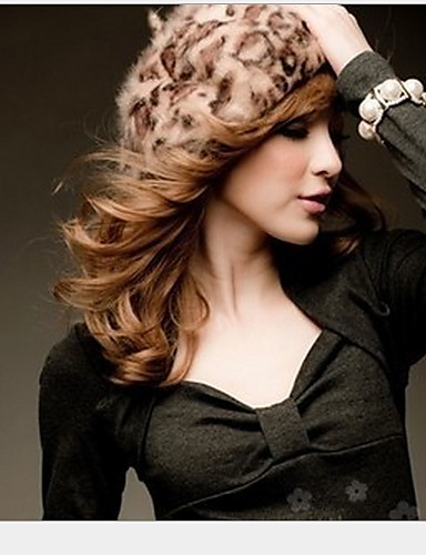 Women's Wool Blend Cute Party Work Casual Leopard Winter Screen Color