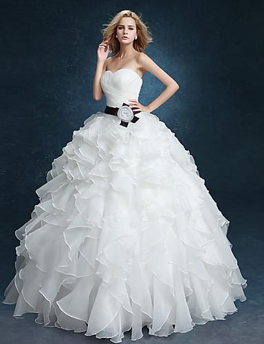 Báli ruha Menyasszonyi ruha - Elbűvölő és drámai Vintage-inspirált Földig érő Szív alakú Bársony sifon val velFodros / Cakkos / Pántlika