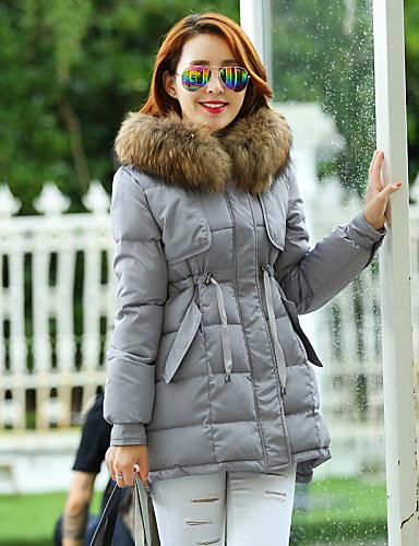 여성의 캐쥬얼 / 플러스 사이즈 다운 패딩 코트 긴 소매 깃털