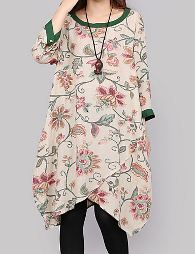 Women's Round Flower Dresses , Casual/Print Long Sleeve Dira