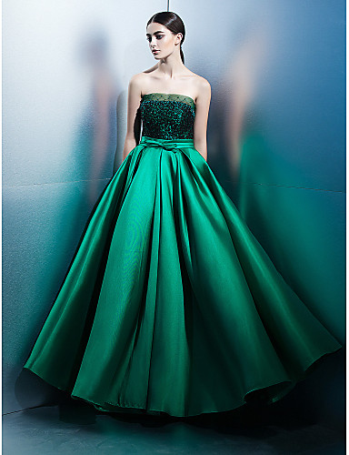 A-Line Strapless Floor Length Lace / Satin Prom / Formal Evening Dress with Bow(s) / Lace by TS Couture®