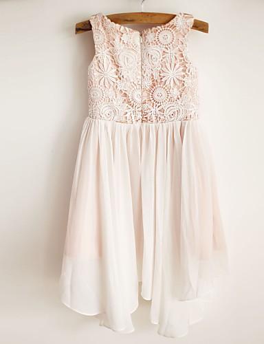a-line diz uzunluğu çiçek kız elbisesi - şifon saten kolsuz kaşık yaka ile dantel ile thstylee