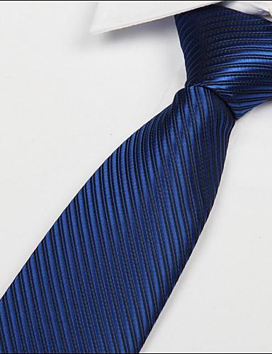 Men's Silk Cotton Acrylic Necktie,Vintage Cute Party Work Casual Striped All Seasons Royal Blue