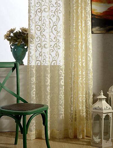 billige Egendefinerte gardiner-Ferdiglaget Gardiner Skygge Et panel 107 x 244cm Lysegul / Mønstret / Soverom