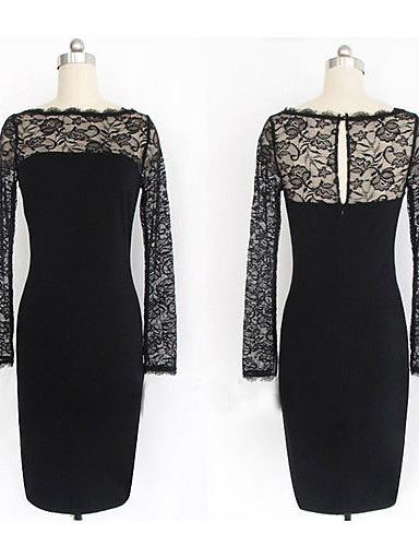 Women's Casual / Street chic Bodycon Dress - Patchwork Lace / Fall