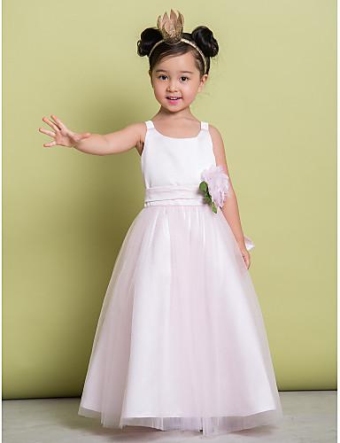 Γραμμή Α Μέχρι τον αστράγαλο Φόρεμα για Κοριτσάκι Λουλουδιών - Τούλι Αμάνικο Scoop Neck με Λουλούδι με LAN TING BRIDE®
