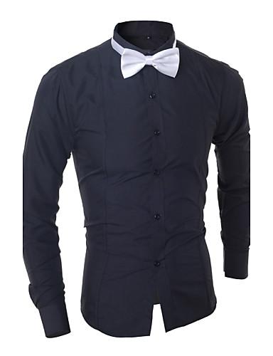 Bomull / Polyester Hvit / Sort Medium Langermet,Skjortekrage Skjorte Fargeblokk Vår / Høst Enkel Fritid/hverdag Herre