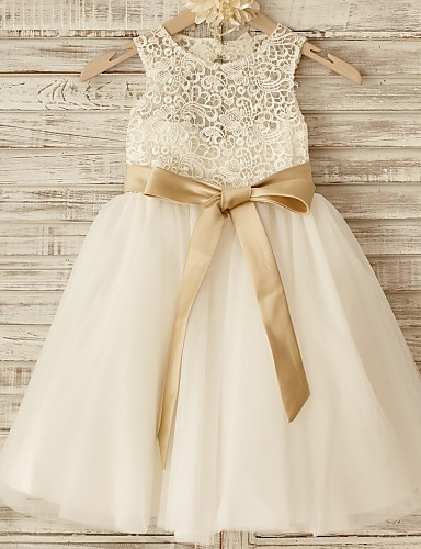 Princess Knee Length Flower Girl Dress - Lace Tulle Sleeveless Scoop Neck with Bow(s) Sash / Ribbon by LAN TING Express