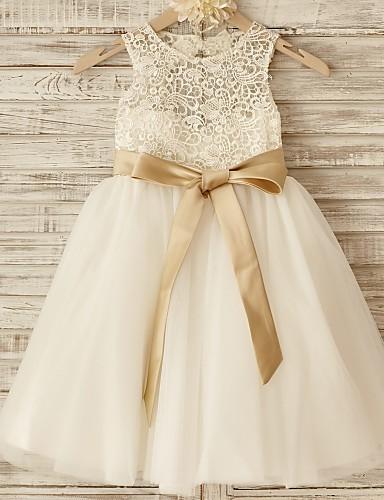 Πριγκίπισσα Μέχρι το γόνατο Φόρεμα για Κοριτσάκι Λουλουδιών - Δαντέλα Τούλι Αμάνικο Scoop Neck με Φιόγκος(οι) Ζώνη / Κορδέλα με LAN TING