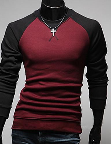 T-Shirt Męski-Na co dzień / Do biura / Formalna-Gładki/a-Bawełna-Długi rękaw-Czarny / Niebieski / Czerwony / Szary