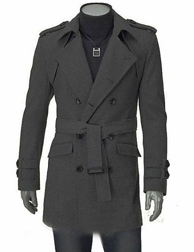 Men's Slim Coat - Solid Colored / Long Sleeve / Double Breasted