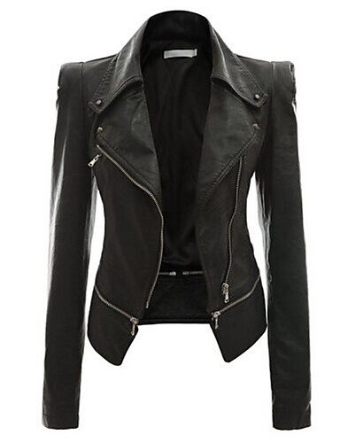 Women's Street chic Leather Jacket-Solid Colored