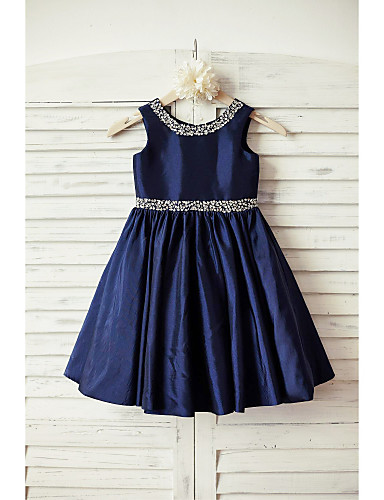 A-Line Knee Length Flower Girl Dress - Taffeta Sleeveless Scoop Neck with Beading Sash / Ribbon by LAN TING BRIDE®