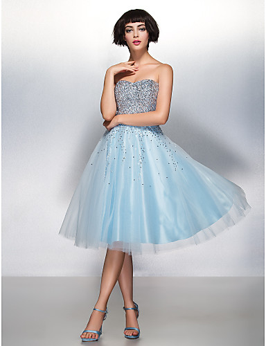 A-Line Sweetheart Knee Length Organza Tulle Cocktail Party Prom Dress with Sequins by TS Couture®