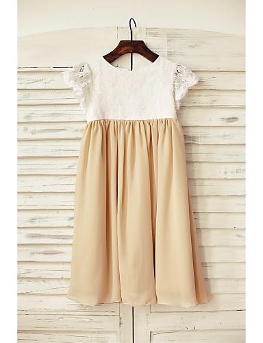 Ίσια Γραμμή Μέχρι το γόνατο Φόρεμα για Κοριτσάκι Λουλουδιών - Σιφόν / Δαντέλα Κοντό Μανίκι Σχήμα U με