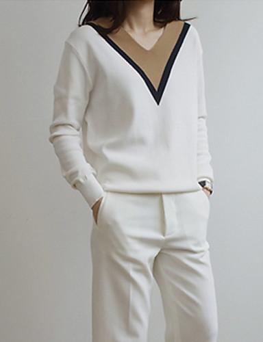 Для женщин Винтаж Обычный Пуловер Пэчворк,Белый V-образный вырез Длинный рукав Хлопок Лён Другое Осень Тонкая Эластичная