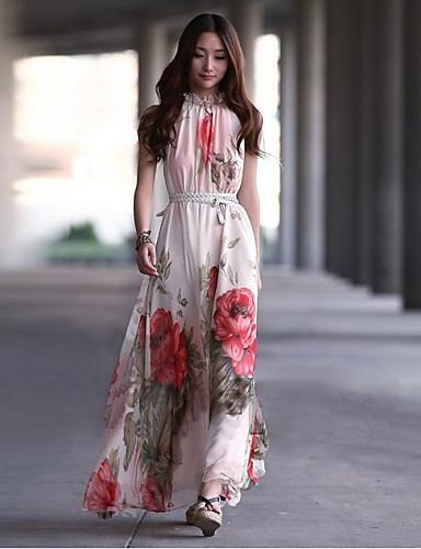 Feminino balanço Vestido Floral Gola Alta Longo Sem Manga Verão Sem Elasticidade Média