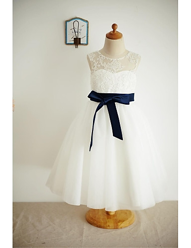 A-Line Tea Length Flower Girl Dress - Lace Tulle Sleeveless Scoop Neck with Bow(s) Buttons Sash / Ribbon by LAN TING Express