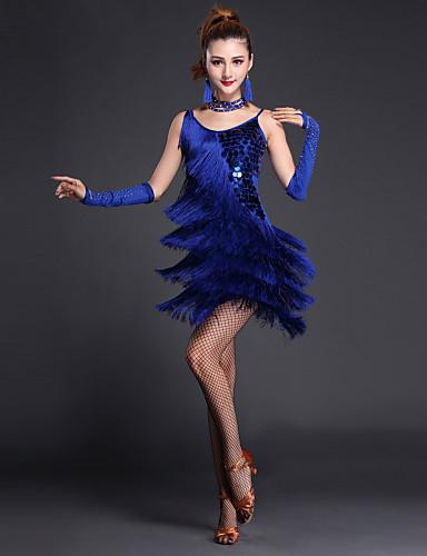 ラテンダンス ドレス 女性用 性能 ポリエステル / ライクラ スパンコール / 多層 / フロントスリット 半袖 / ノースリーブ ハイウエスト セクシレディー ドレス / グローブ / Neckwear / 演出