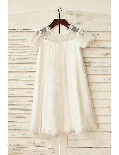 Ίσια Γραμμή Μέχρι το γόνατο Φόρεμα για Κοριτσάκι Λουλουδιών - Δαντέλα Κοντομάνικο Scoop Neck με Πλισέ με LAN TING BRIDE®