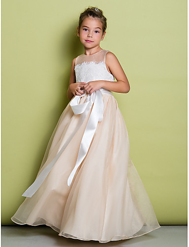 A-Line Floor Length Flower Girl Dress - Lace / Organza Sleeveless Jewel Neck with Lace by LAN TING BRIDE®