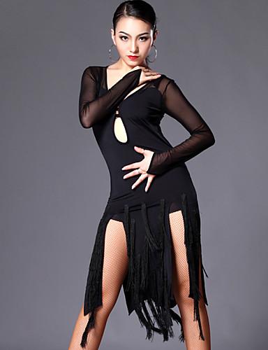 Latin Dansı Elbiseler Kadın's Eğitim / Performans Tül / Włókno mleczne Püsküllü Uzun Kollu Elbise / Şort / Samba