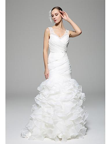 Sellő fazon Menyasszonyi ruha Udvari uszály V-nyakkivágás Organza val vel Rátétek / Gyöngydíszítés / Gomb / Cakkos